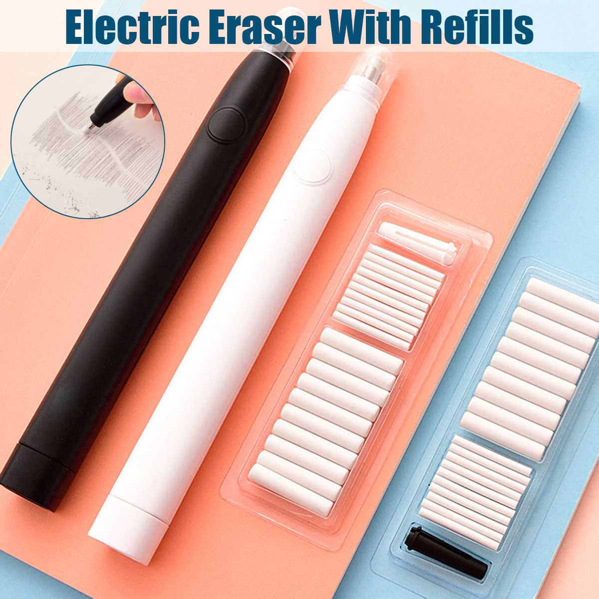 pencil drawing mechanical Electric eraser cute kneaded erasers for kids school Office supplies rubber pencil eraser