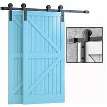 LWZH-Herrajes para puertas corredizas de Granero, suspensión doblada, sistema Bypass, 4-9.6 pies