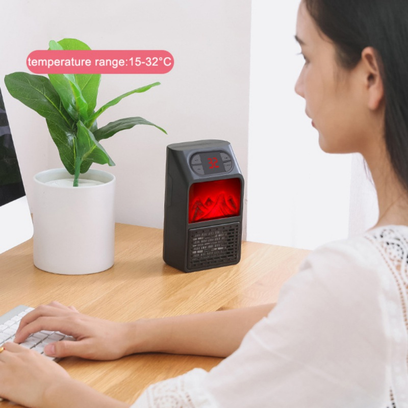 Winter Electric Wall-outlet Flame Heater US Plug-in Air Warmer PTC Ceramic Heating Stove Radiator Wall Household Handy Fan