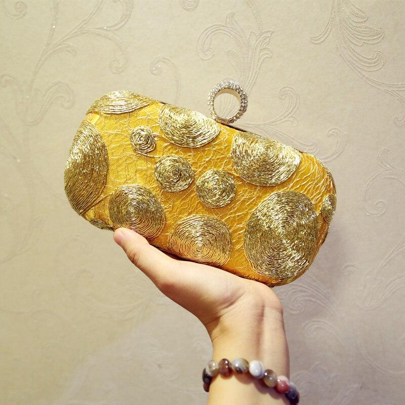 Королевская благородная Банкетная сумка с вышивкой, на одно плечо, Золотая маленькая квадратная сумка, сумка-мессенджер - Цвет: Золотой