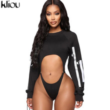 Kliou lange mouwen hollow out bodysuit reflecterende band patchwork sexy bodycon rompertjes herfst vrouwen mode club slanke outfits(China)
