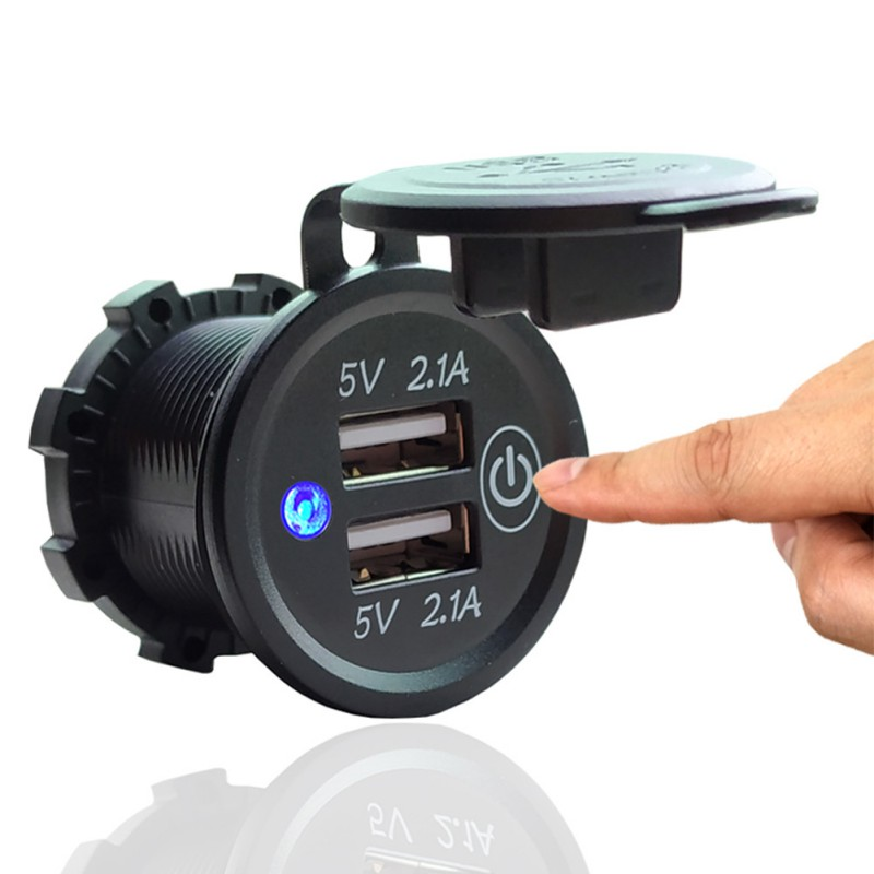 New <font><b>12V</b></font>-24V <font><b>Motor</b></font> Car Dual <font><b>USB</b></font> <font><b>Charger</b></font> Universal Cigarette Lighter Electronics Quick Charging Power Adapter With Touch Switch image