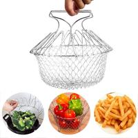 Panier à fruits pliable télescopique en acier inoxydable, filtre, égouttoir, ustensiles de cuisine 1