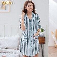 قمصان النوم حجم كبير فستان سهرة المرأة 100% القطن الملابس الداخلية ملابس خاصة مخطط التلبيب سترة قصيرة الصيف ليلة روب للنوم