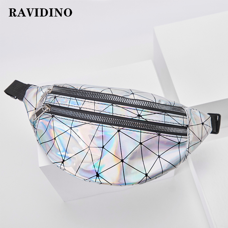 Waist Bags For Women Pink Silver Fanny Pack Female Belt Bag Black Geometric Waist Packs Laser Chest Phone Pouch Belt Fanny Bag
