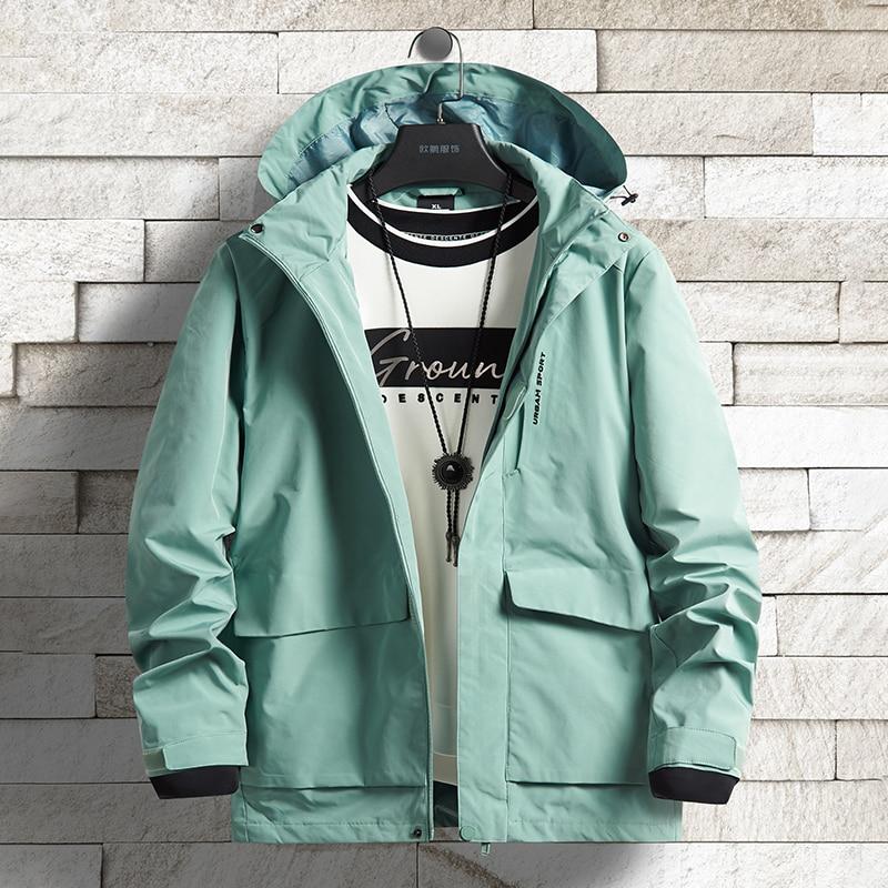 Ветровка мужская, с капюшоном, водонепроницаемая, зеленого цвета, размера плюс, 6XL, 7XL, 8XL, 2020|Куртки| | АлиЭкспресс