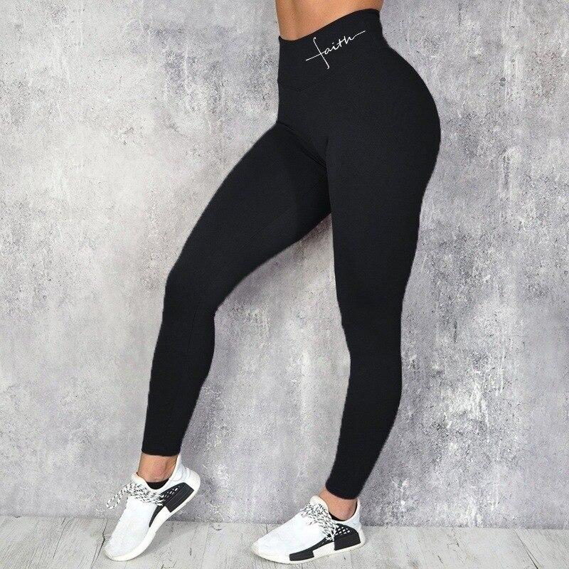 Women's Skinny Leggings Sport Yoga Pants With High Waist Faith Letter Print For Fashion Gym Trousers