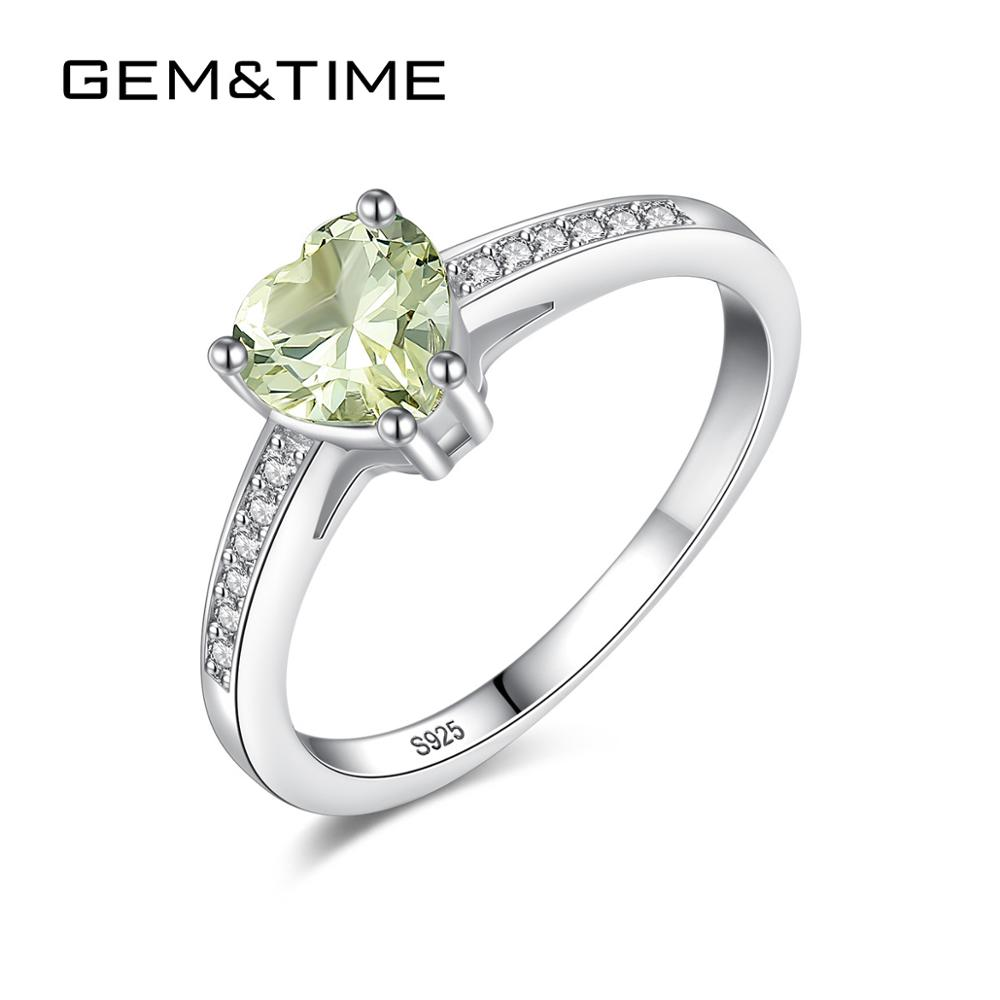 Gem&Time Real Sterling Silver 925 Peridot Stone Ring For Women Heart Gemstone Ring Korean Silver 925 Solid Ring Jewelry SR0319