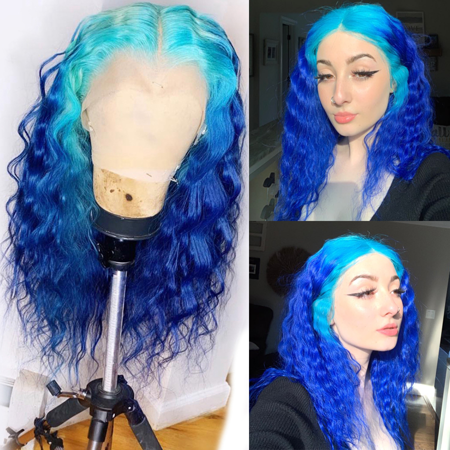COLODO Brazilian Remy 13x4 Lace Frontal Wigs Ombre Color Water Wave Blue Human Hair Wig Pre Plucked 150 Pink Lace Wigs For Women