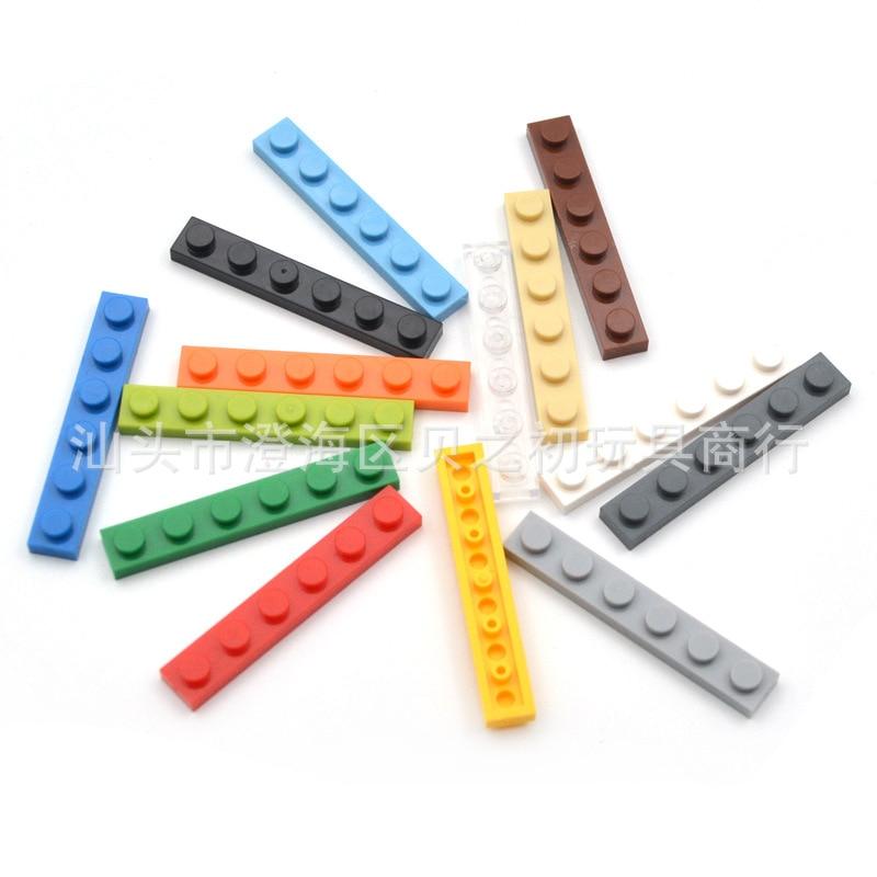 100g toplu parçaları 1x6 ince tuğla yapı taşları plastik taban plakası MOC şekilli kalıp montajı için eğitici oyuncaklar çocuk 3666