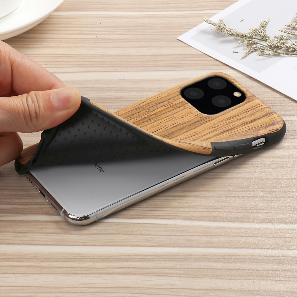 Slim Wood Grain Silicon Glitter Bumper Cover Wooden Case for iPhone 12 Pro Max 3