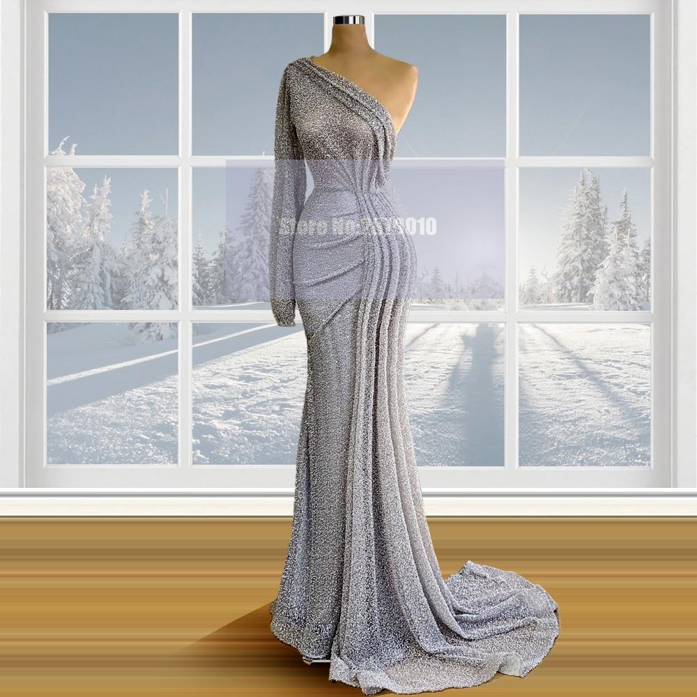 New Silver One Shoulder Mermaid Evening Dress Floor-Length Long Sleeves Vestido De Festa Prom Dress Celebrity Dress 2020 Dubai
