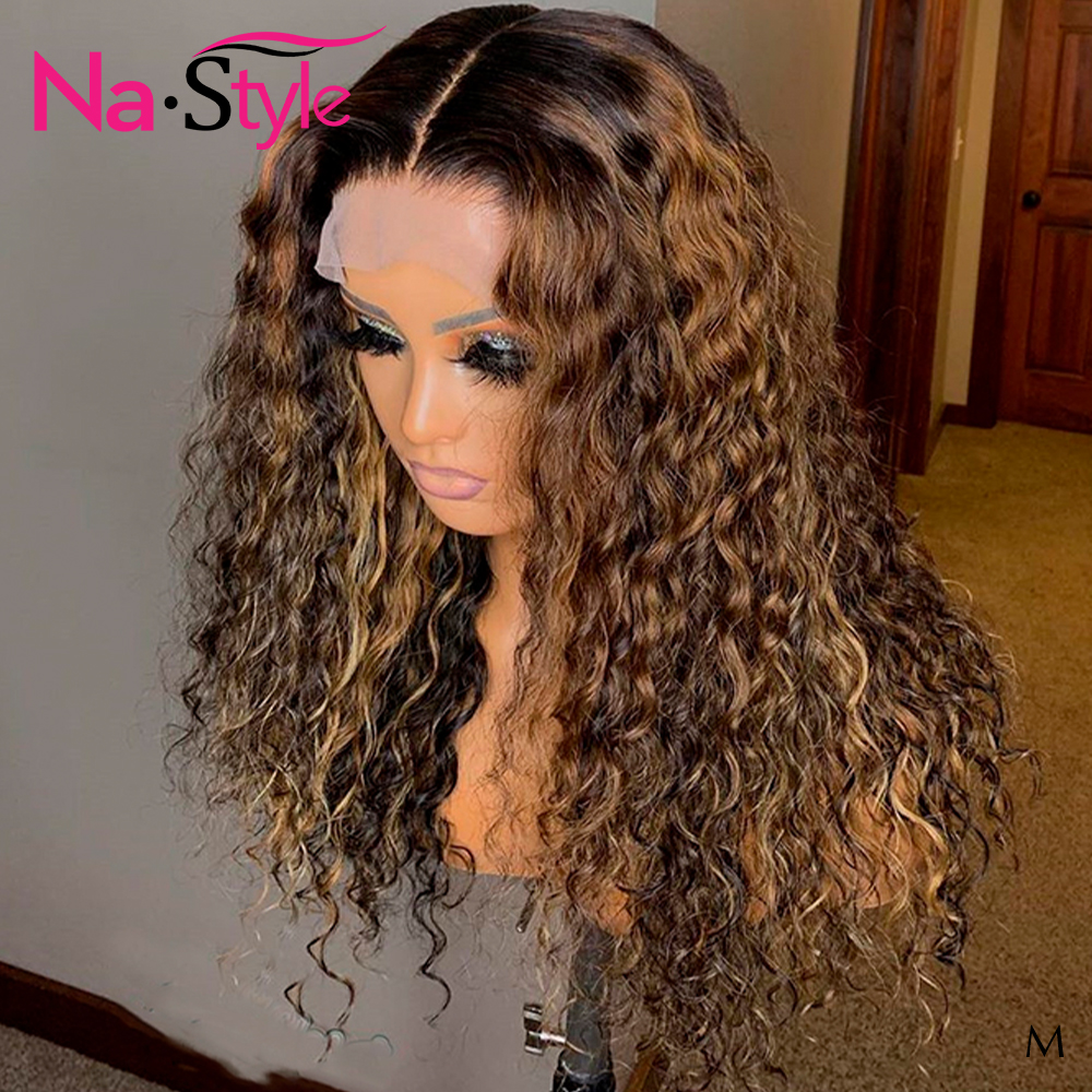 1b/30 Honey Blonde Invisible Lace Front Wigs For Women Peruvian Afro Kinky Curly Human Hair Wig Baby Hair 150 13x6 Colored  Remy