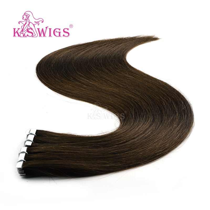 K.S WIGS Remy Invisible Skin Weft Hair Straight Love Line Tape In Human Hair With Extension Kits 16'' 20'' 24''