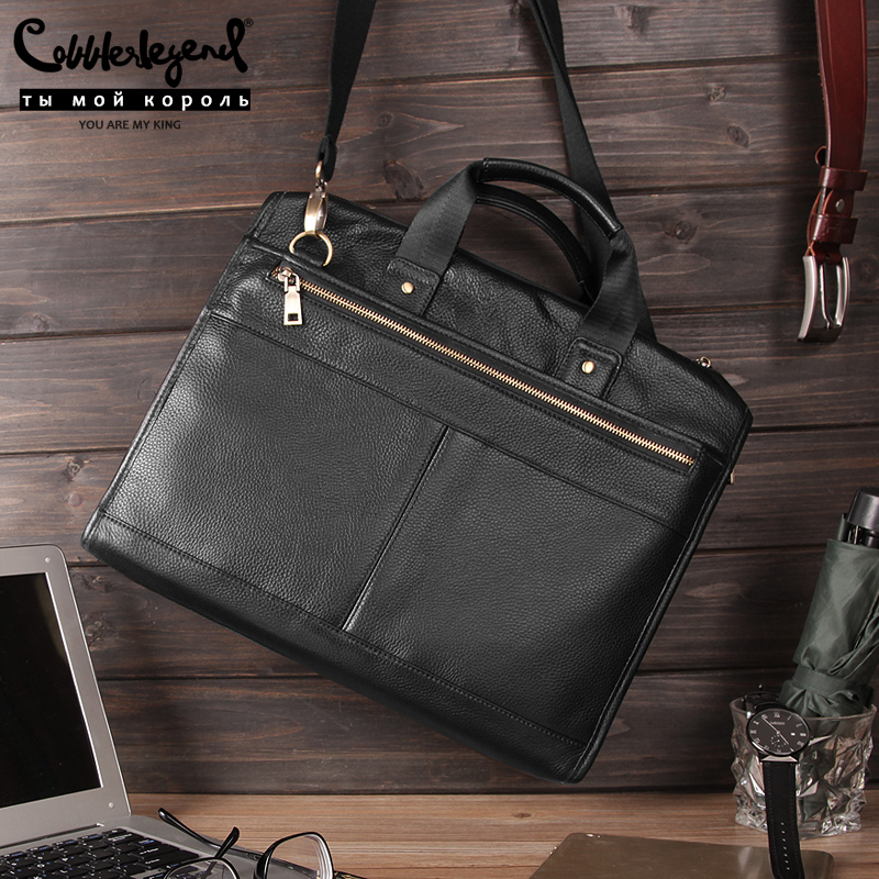 Cobbler Legend Black Male Shoulder Laptop Bag Genuine Leather Handbag Men Briefcase Luxury Large Capacity Business Bag 2019