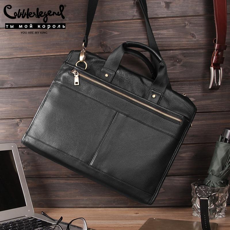 Cobbler Legend Black Male Shoulder Laptop Bag Genuine Leather Handbag Men Briefcase Luxury Large Capacity Business Bag 2019