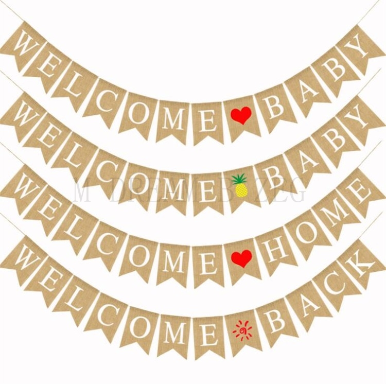 Party Decoration Flag Welcome Home Welcome Baby 4 Styles Colored Banner Pineapple Love Heart Pattern Swallowtail Flags Banners Streamers Confetti Aliexpress