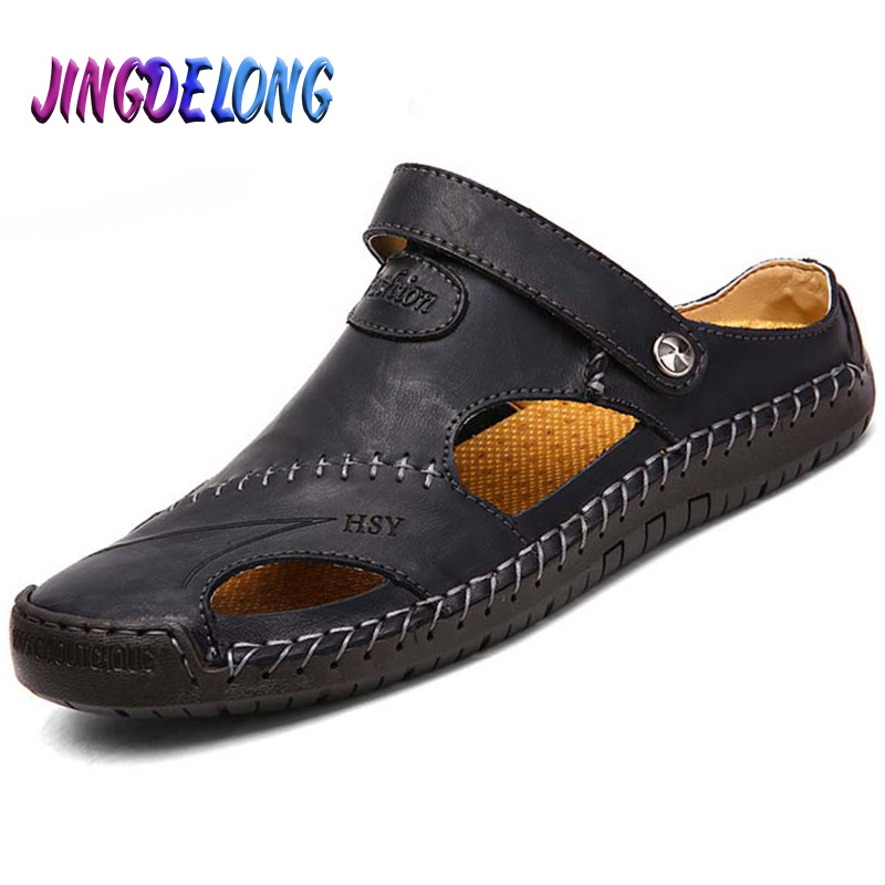 Mens Leather Sandals Summer Hollow Out Design Breathable Sandals for Male Brown Slip-On Men Shoes