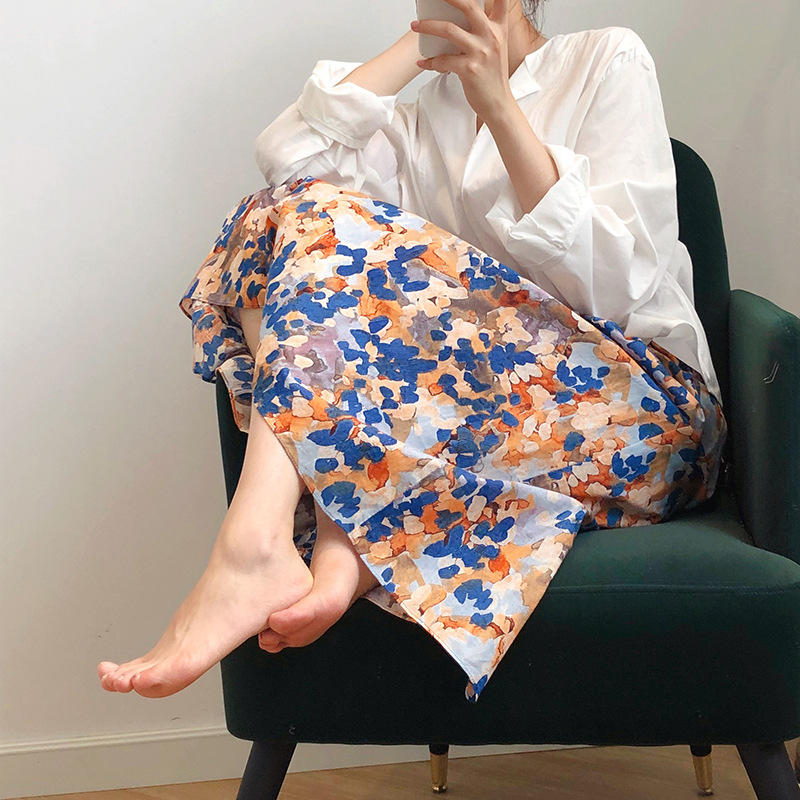 2020 Spring Women Skirt Painting Print Skirts Casual Harajuku High Waist A-line Skirts Women Jupe Femme Faldas Saias Outwear