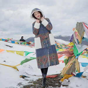 Image 4 - Johnature 女性パッチワーク韓国スタイルパーカー 2019 冬の新付き印刷花暖かい女性パーカー