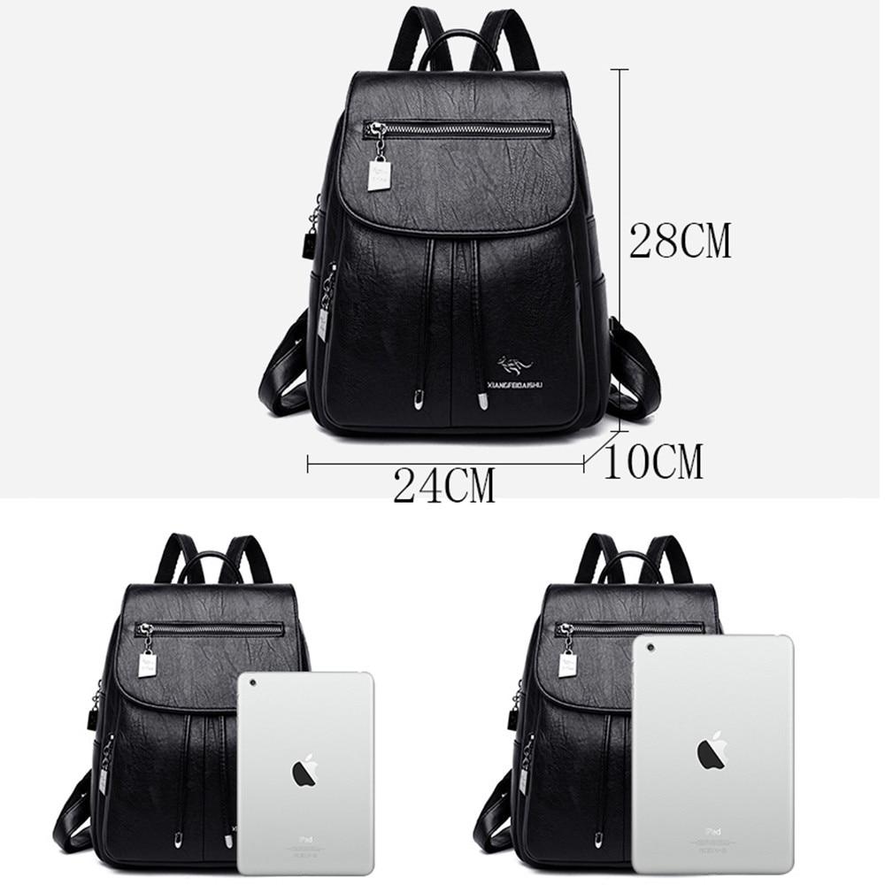 Image 4 - Luxury Women Backpacks 2019 Soft Leather Female Travel Shoulder  Bags Backpack High Quality School Bags For Girls Bolsa  MochilasBackpacks