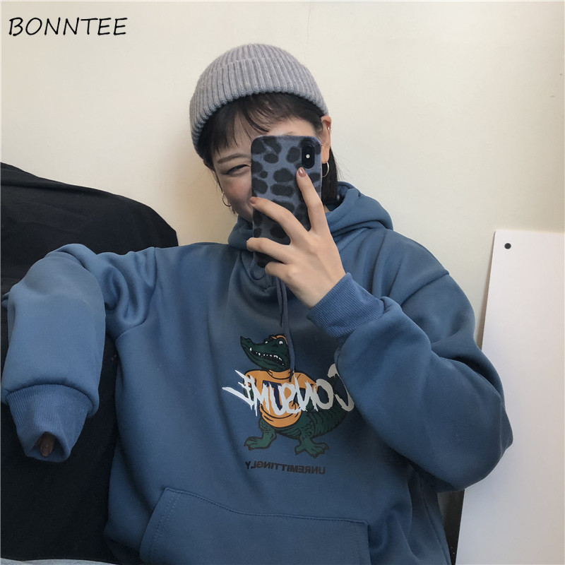 Hoodies Women Hooded Thick Plus Velvet Cartoon Letter Print Loose Pockets Oversize Womens Hoodie Leisure Harajuku All-match Chic
