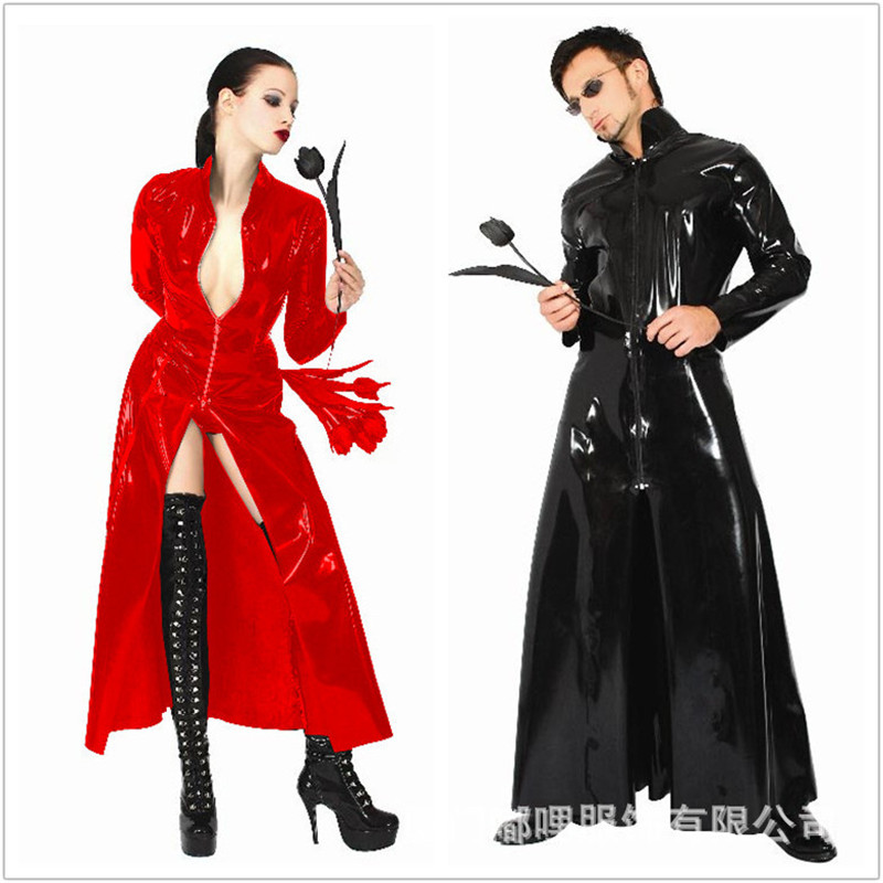 Listing Men Women Matrix Neo Long Black Leather Coat Cosplay Black Cape Patent Leather Conjoined DJ Night Club Ds Party Service