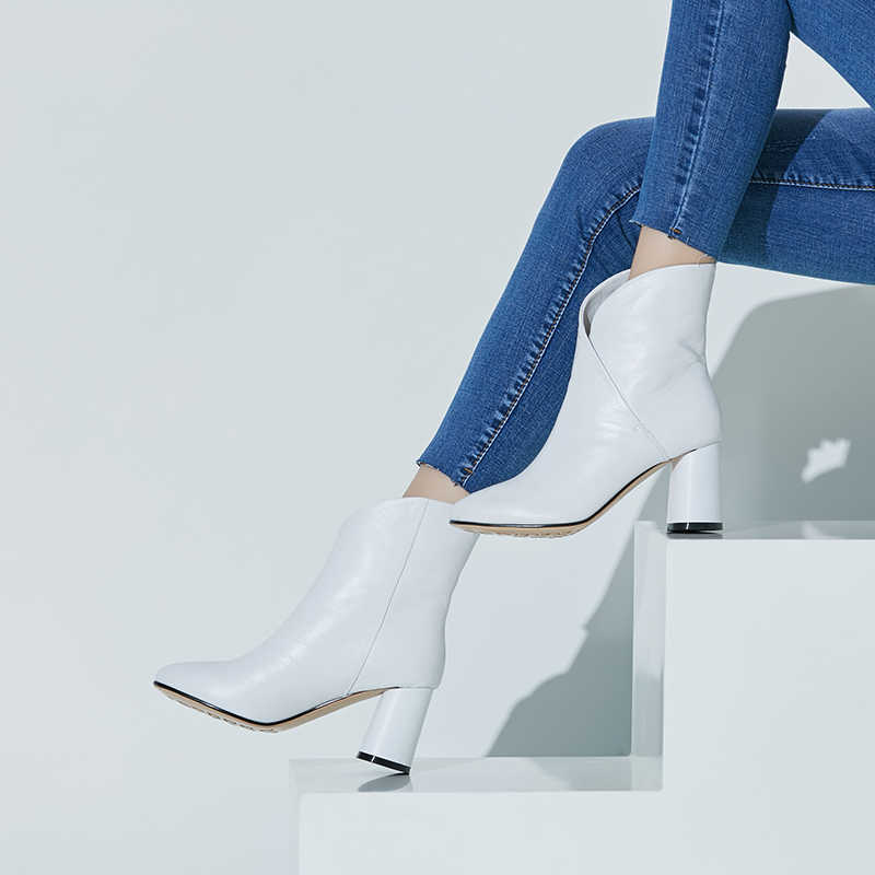Lederen korte laarzen eenvoudige kruis ontwerp ronde neus dikke hakken 7.5cm vrouwen enkellaarsjes herfst nieuwe mode vrouwelijke schoenen