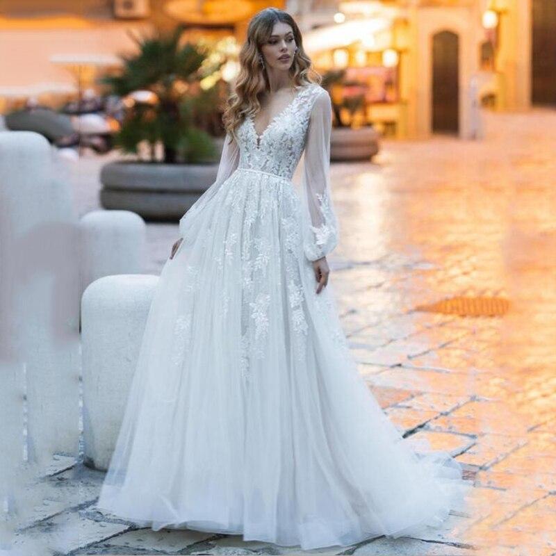 A Line Beach Wedding Dresses Long Sleeves Lace Appliques Bride Gowns With Belt Ivory Boho Wedding Dress Vestido De Festa