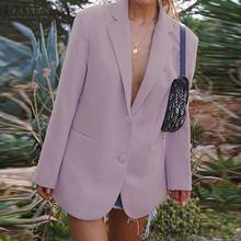 ZANZEA 2020 Fashion Office Ladies Solid Blazer Autumn Women Long Sleeve