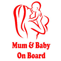 Mum Baby on Board Car Vehicle Body Window Reflective Decals Sticker Decoration Automobiles Decal Car styling 6