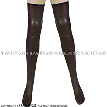 Brown And Black Sexy Long Latex Stockings With Trims On Top Around Zippers Back Rubber Thigh High Stockings WZ-0023
