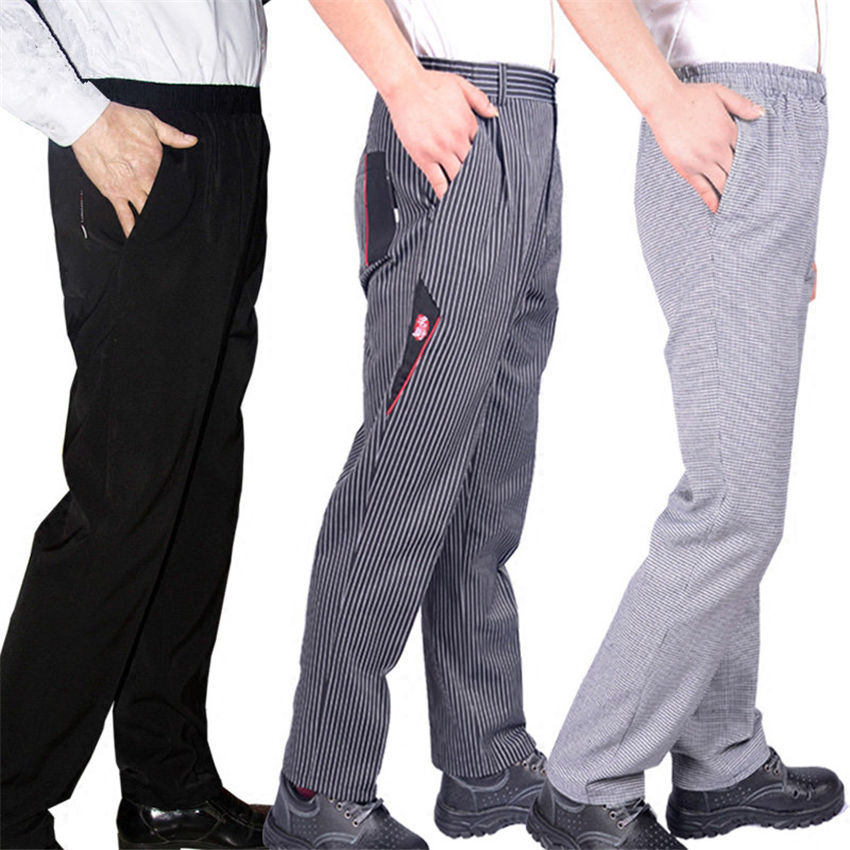 Men's Loose Chef Trousers Food Service Work Wear Stripe Kitchen Restaurant Uniform Cook Pant For Man Chef Bottoms Maxi M-4XL