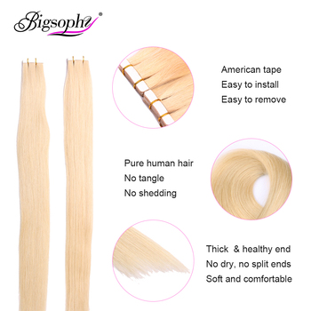 Tape In Human Hair Extensions Skin Weft Straight Remy Hair 20 / 40pcs Double Sided Tape Hair 14 16 18 20 22 24 26 INCH Bigsophy 2