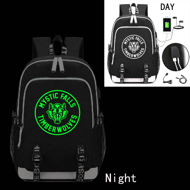 The Vampire Diaries Backpack With USB Charging Port And Lock &Headphone Interface For College Student Work Men & Women