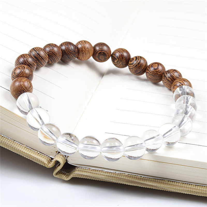 Image 4 - Натуральные DIY деревянные бусины Шарм чакра браслеты баланс Йога  браслет для медитации и браслеты для женщин и мужчин Homme молитва  спортивные ювелирные изделияПлетеные браслеты