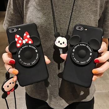 Espejo de maquillaje de dibujos animados Minnie funda de teléfono para Xiaomi Redmi Note 8 Pro 8T 7 note 6 5 Pro 4 4X S2 Go TPU suave con correa de dibujos animados
