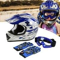 DOT Motorcycle Youth Kids Child helmet full face motocross casco moto Off-road Street Goggles Gloves Bike helmets ATV capacete 5