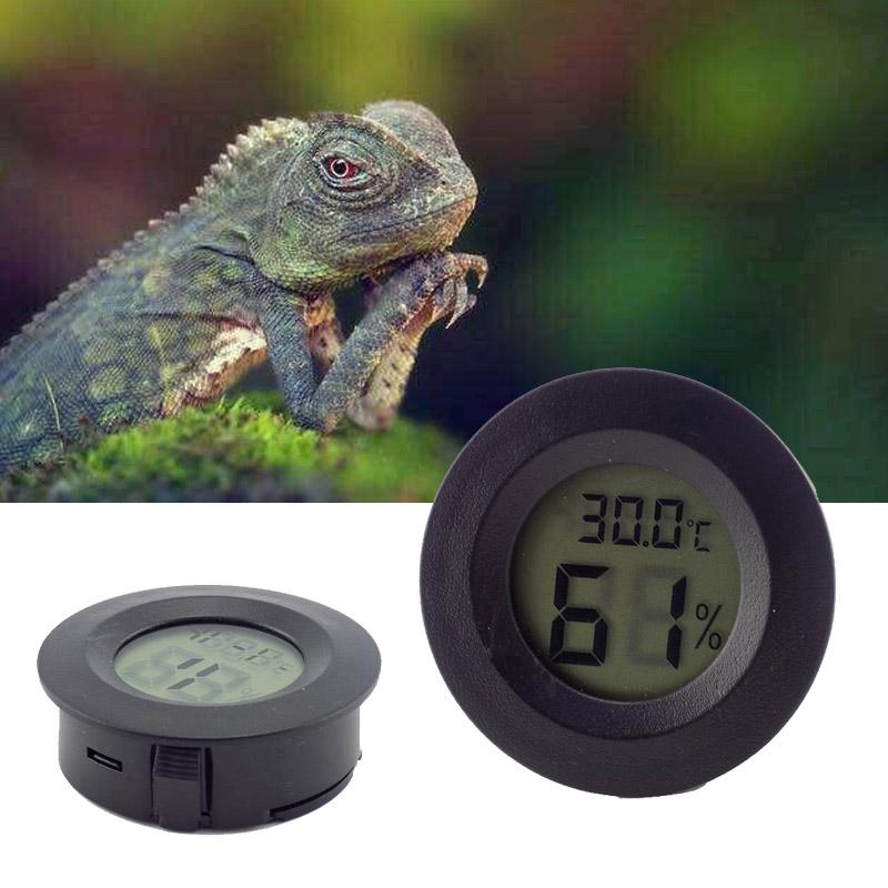 Mini Digital LCD Thermometer Hygrometer Aquarium Temperature Humidity Round Shape Reptile Meter Detector