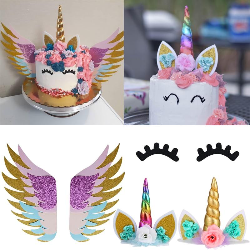 Rainbow Unicorn eyelashes horn Cake Topper Birthday Party Decor Unicornio Baby Shower First Birthday unicorn party decoration