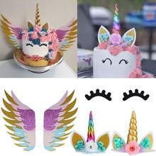 Unicornio arcoíris pestañas cuerno torta Topper fiesta de cumpleaños decoración Unicornio Baby Shower Primer Cumpleaños Unicornio fiesta Decoración