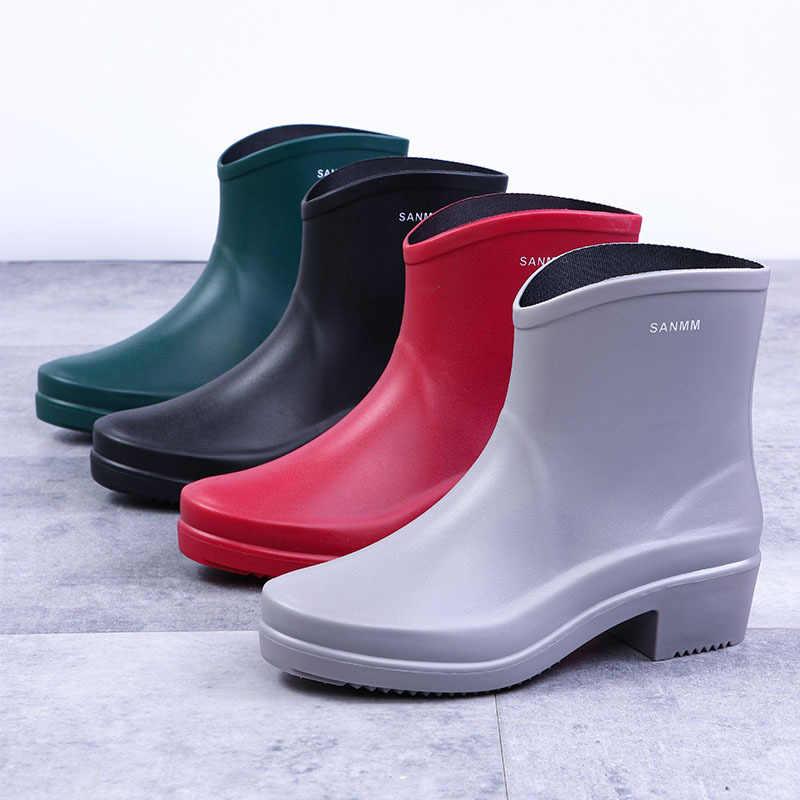 ผู้หญิง Pvc รองเท้าข้อเท้ารองเท้ากันน้ำหญิง Rainboots ลื่นบนแฟชั่นลื่นรองเท้าส้นสูงสบาย