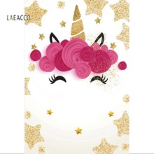 Laeacco Gold Unicorn Birthday Party Corn Star Flowers Poster Baby Portrait Photo Backgrounds Photocall Photography Backdrops