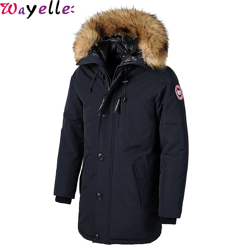 Men Winter Thick Cotton Down Jacket With Faux Fur Collar Men Hooded Long Waterproof Outerwear Parka Male Canada Warm Cotton Coat