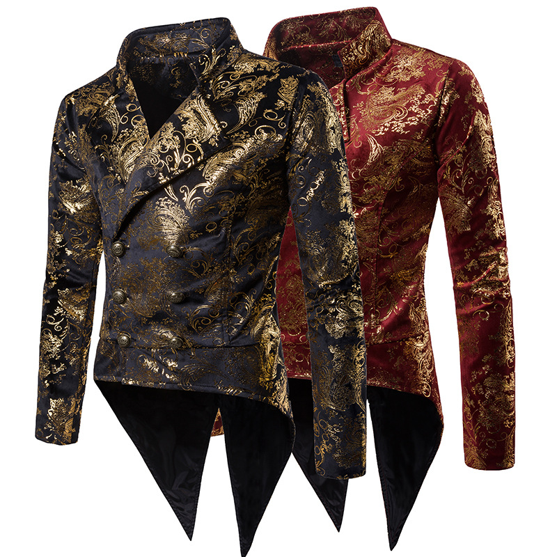 Gold-stamped Tuxedo For Party Stage Banquet, Bar Nightclub Men's Suit Jacket