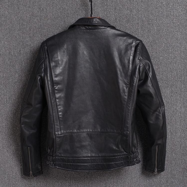 2020 Genuine Cow Jacket Men Vintage Spring Autumn Short Cowhide Coat Real Leather Jackets Veste Moto Homme 12-25A KJ2316