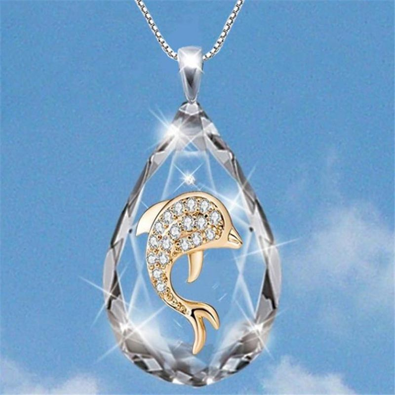 Fashion AAA Crystal Dolphin Necklaces for Women Water Drop Pendant Necklaces Bridal Engagement Wedding Jewelry Gifts