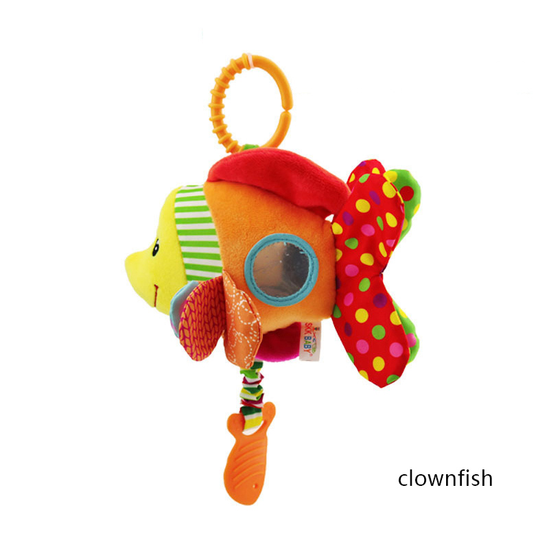 Animal Shape Infant Toys Mobile Baby Animal Fish Plush Toy Bed Rattles Crib Stroller Hanging Bells Toys For Baby Bells