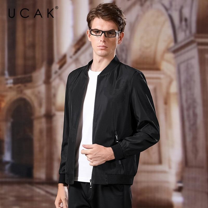 UCAK Brand Polyester Jacket Men 2020 Spring New Arrival Casual Solid V-Neck Pockets Chamarra Para Hombre Outwear Jackets U8031