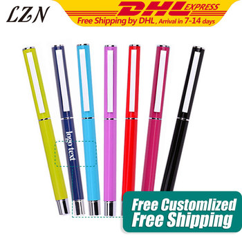 LZN All Red Color Metal Pen Fashion Style Gel Pens Office Writing Stationery Free Engraved Text/Logo For Special Time/Day